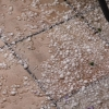 Etwa 19:25 Uhr: Auf der Terrasse, die größten, bereits stark angetauten Hagelkörner haben im Vergleich zur bekannten Fugenstärke der Fliesen immer noch einen Durchmesser von etwa 1,5 Zentimeter. Foto: Sylke Ruh, Ebringen